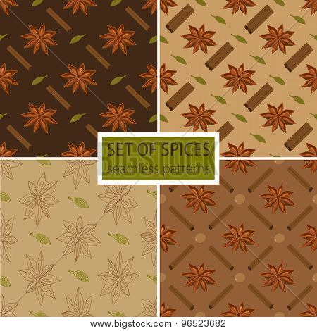 Set Of Four Spicy Seamless Patterns
