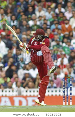 LONDON, ENGLAND - June 07 2013:  West Indies Chris Gayle batting during the ICC Champions Trophy cricket match between Pakistan and The West Indies at The Oval Cricket Ground.