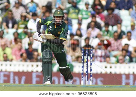 LONDON, ENGLAND - June 07 2013: Pakistan's Nasir Jamshed batting during the ICC Champions Trophy cricket match between Pakistan and The West Indies at The Oval Cricket Ground.
