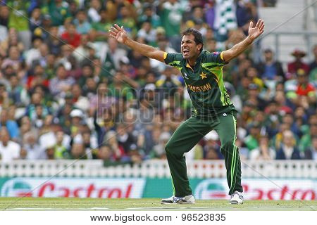 LONDON, ENGLAND - June 07 2013: Pakistan's Wahab Riaz appeals during the ICC Champions Trophy cricket match between Pakistan and The West Indies at The Oval Cricket Ground.