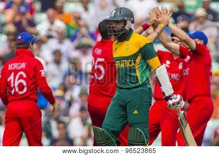 LONDON, ENGLAND - June 19 2013: South Africa's Hashim Amla walks off as England players celebrate his wicket, during the ICC Champions Trophy semi final match between England and South Africa