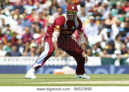 LONDON, ENGLAND - June 07 2013: West Indies Kieron Pollard during the ICC Champions Trophy cricket match between Pakistan and The West Indies at The Oval Cricket Ground.