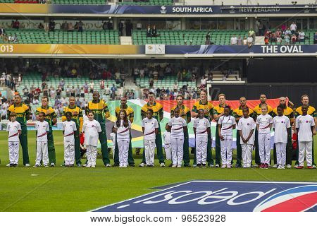 LONDON, ENGLAND - June 19 2013: South Africa line up before the ICC Champions Trophy semi final match between England and South Africa at The Oval Cricket Ground