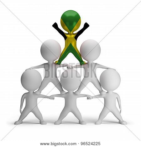 3d small people standing on each other in the form of a pyramid with the top leader Jamaica