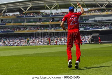 LONDON, ENGLAND - June 19 2013: England's Steven Finn celebrates during the ICC Champions Trophy semi final match between England and South Africa at The Oval Cricket Ground