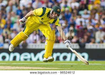 LONDON, ENGLAND - June 17 2013: Australia's Adam Voges runs a single during the ICC Champions Trophy international cricket match between Sri Lanka and Australia.