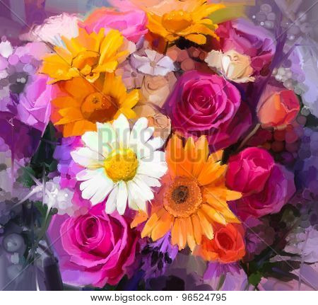Oil Painting A Bouquet Of Rose,daisy And Gerbera