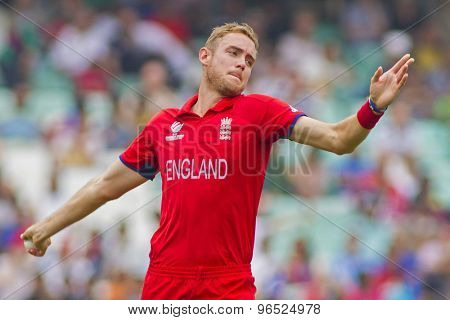 LONDON, ENGLAND - June 19 2013: England's Stuart Broad during the ICC Champions Trophy semi final match between England and South Africa at The Oval Cricket Ground