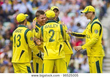 LONDON, ENGLAND - June 17 2013: Australia's Xavier Doherty celebrates taking the wicket of Tillakaratne Dilshan during the ICC Champions Trophy international match between Sri Lanka and Australia.