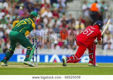 LONDON, ENGLAND - June 19 2013: Joe Root is bowled out during the ICC Champions Trophy semi final match between England and South Africa at The Oval Cricket Ground