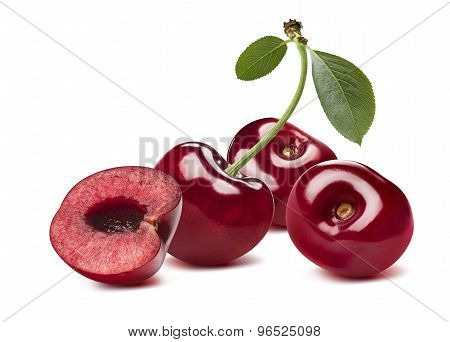3 Sweet Cherries And Half Isolated On White Background