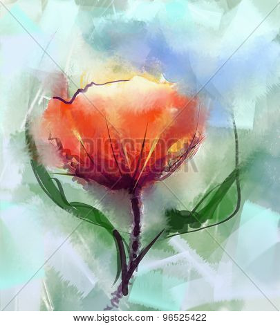 Watercolor Painting Red Poppy Flower