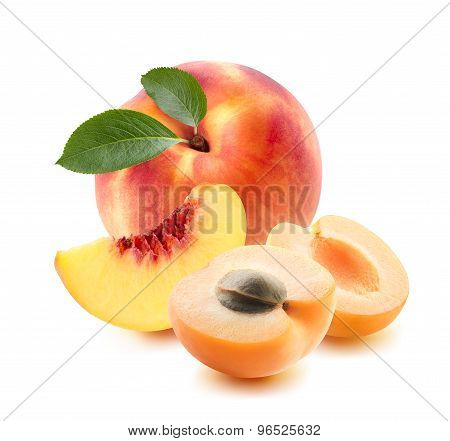 Peach Whole, Apricot Pieces Isolated On White Background