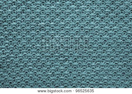 Knitted Cellular Texture Of Blue Green Color