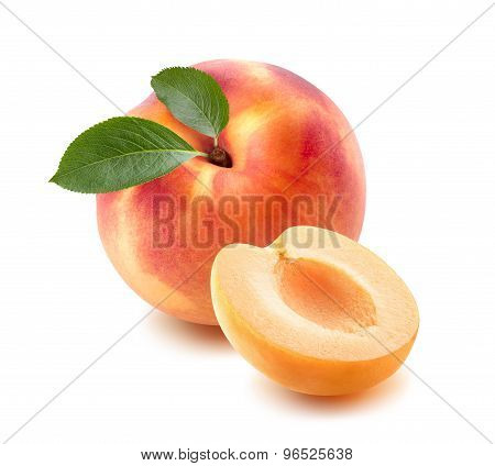 Single Peach, Apricot Half Isolated On White Background