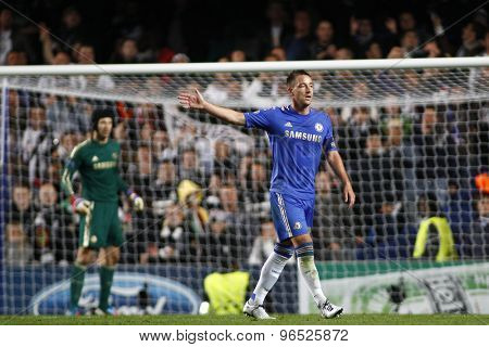 LONDON, ENGLAND. September 19 2012 Chelsea's English defender John Terry  during the UEFA Champions League football match between Chelsea and Juventus played at Stamford Bridge