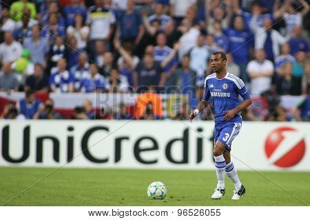 MUNICH, GERMANY May 19 2012. Chelsea's English defender Ashley Cole in action during the 2012 UEFA Champions League Final at the Allianz Arena Munich contested by Chelsea and Bayern Munich