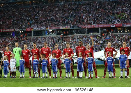 MUNICH, GERMANY May 19 2012. Bayern Munich team at the 2012 UEFA Champions League Final at the Allianz Arena Munich contested by Chelsea and Bayern Munich