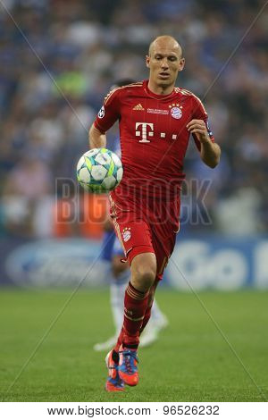 MUNICH, GERMANY May 19 2012. Bayern's Dutch midfielder Arjen Robben in action during the 2012 UEFA Champions League Final at the Allianz Arena Munich contested by Chelsea and Bayern Munich