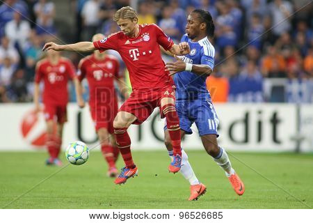 MUNICH, GERMANY May 19 2012. Bayern's Ukrainian midfielder Anatoliy Tymoshchuk and Chelsea's forward Didier Drogba in action during the 2012 UEFA Champions League Final at the Allianz Arena