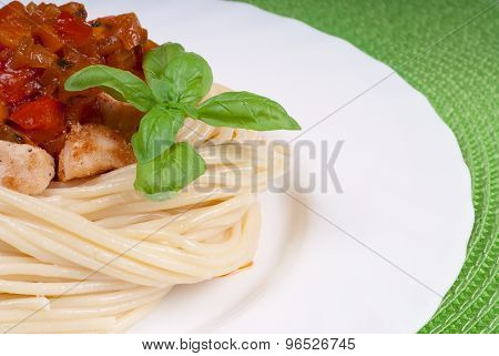 Plate With Spaghetti, Sauce And Basil On Green Napkin. Chicken In Sweet And Sour Sauce With Pineappl