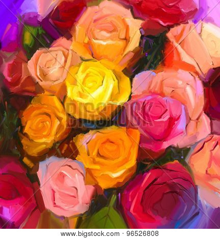 Oil Painting A Bouquet Of Rose Flowers