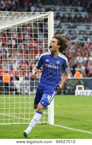 MUNICH, GERMANY May 19 2012. Chelsea's Brazilian defender David Luiz celebrates scoring a penalty during the 2012 UEFA Champions League Final at the Allianz Arena Munich