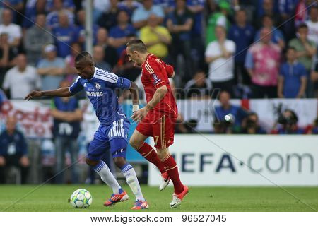 MUNICH, GERMANY May 19 2012. Chelsea's Ivory Coast forward Salomon Kalou and Bayern's French midfielder Franck Ribery in action during the 2012 UEFA Champions League Final played at the Allianz Arena
