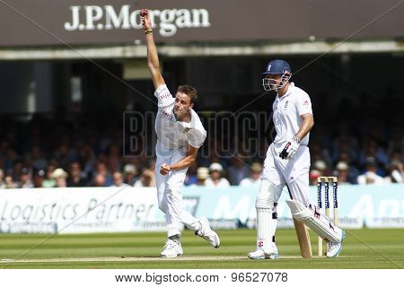 LONDON, ENGLAND. AUGUST 17 2012 South Africa's Morne Morkel and England's Andrew Strauss during the third Investec cricket  test match between England and South Africa, at Lords Cricket Ground