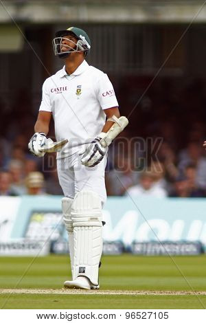 LONDON, ENGLAND. AUGUST 17 2012 South Africa's Vernon Philander celebrates a half century during the third Investec cricket  test match between England and South Africa, at Lords Cricket Ground