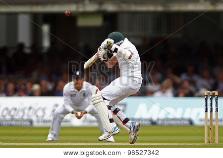 LONDON, ENGLAND. AUGUST 17 2012 South Africa's Dale Steyn ducks a bouncer during the third Investec cricket  test match between England and South Africa, at Lords Cricket Groundi