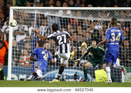 LONDON, ENGLAND. September 19 2012 Juventus's Italian forward Fabio Quagliarella shoots at the Chelsea goal during the UEFA Champions League football match between Chelsea and Juventus