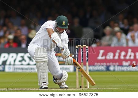 LONDON, ENGLAND. AUGUST 16 2012 South Africa's Graeme Smith is given out caught Prior bowled Anderson during the third Investec cricket  test match between England and South Africa