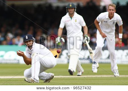 LONDON, ENGLAND. AUGUST 16 2012 England's James Taylor watches the ball go for four runs during the third Investec cricket  test match between England and South Africa, at Lords Cricket Ground