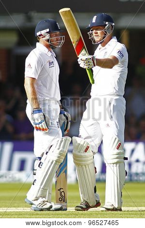 LONDON, ENGLAND. AUGUST 17 2012 England's Jonny Bairstow (celebrates his maiden test half century with England's Ian Bell during the third Investec test match between England and South Africa