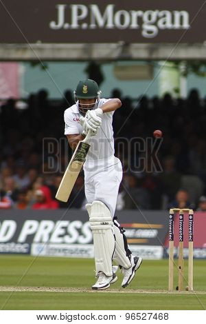 LONDON, ENGLAND. AUGUST 16 2012 South Africa's Alviro Petersen is given out during the third Investec cricket  test match between England and South Africa, at Lords Cricket Ground