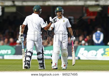 LONDON, ENGLAND. AUGUST 16 2012 South Africa's Jean-Paul Duminy celebrates a half century during the third Investec cricket  test match between England and South Africa, at Lords Cricket Ground