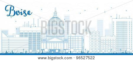 Outline Boise Skyline with Blue Building. Vector Illustration