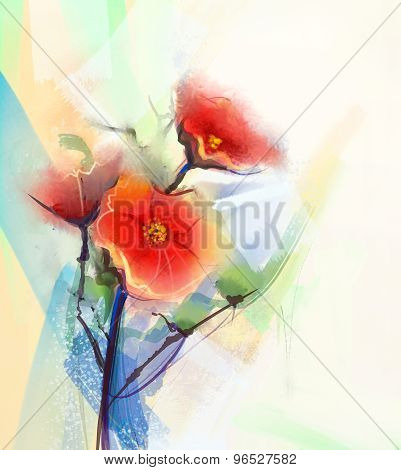 Red Poppy Flowers Watercolor Paintings