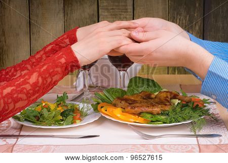 Lovely Couple Having Romantic Dinner Or Lunch In Restaurant With Rustic Interior