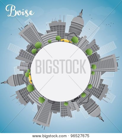 Boise Skyline with Grey Building, Blue Sky and copy space. Vector Illustration