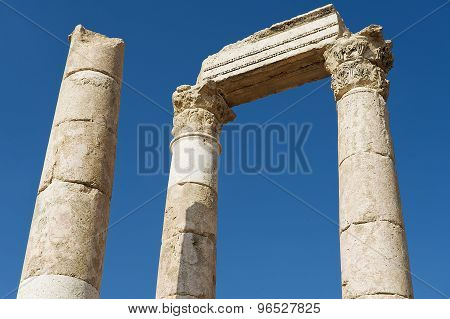Exterior detail of the ancient stone columns at the Citadel of Amman in Amman, Jordan.