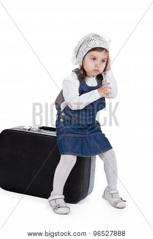 Sitting On A Suitcase Girl Calls By Phone