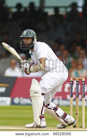 LONDON, ENGLAND. AUGUST 19 2012 South Africa's Hashim Amla batting during the third Investec cricket  test match between England and South Africa, at Lords Cricket Ground