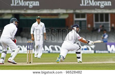 LONDON, ENGLAND. AUGUST 20 2012 England's Matt Prior sweeps the ball for four runs to go past his half century during the third Investec cricket  test match between England and South Africa,