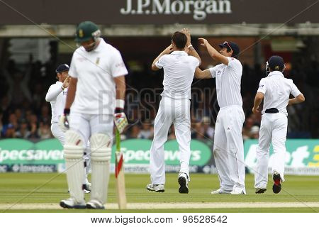 LONDON, ENGLAND. AUGUST 16 2012 South Africa's Hashim Amla is bowled out by England's Steven Finn not in picture during the third Investec cricket  test match between England and South Africa