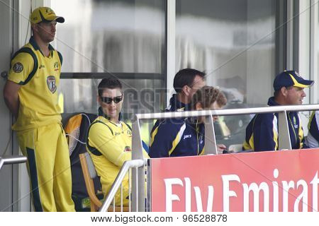 CHESTER LE STREET, ENGLAND. JULY 07 2012: Australia's captain Michael Clarke, sitting on the Australian team balcony during the 4th one day international between England and Australia