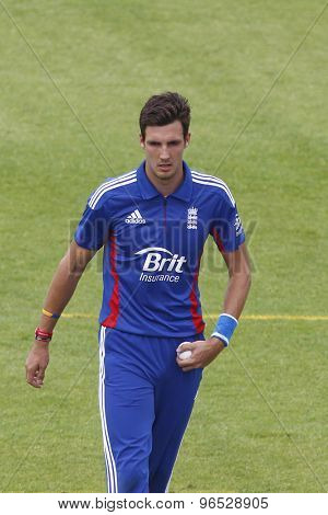 CHESTER LE STREET, ENGLAND. JULY 07 2012: England's Steven Finn, during the 4th one day international between England and Australia