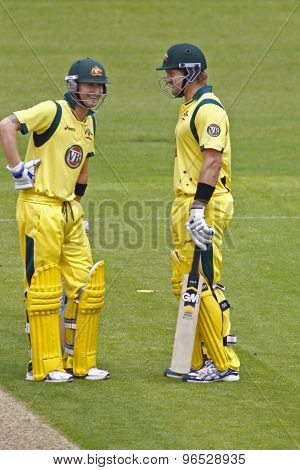 CHESTER LE STREET, ENGLAND. JULY 07 2012: Australia's captain Michael Clarke, and Australia's Shane Watson,  during the 4th one day international between England and Australia