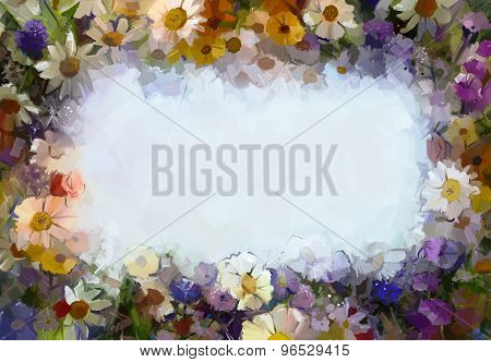 Oil Painting Flowers With Blank Space For Your Design